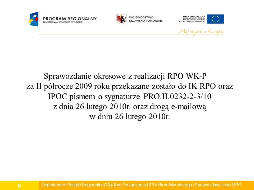 Departament Polityki Regionalnej/ Wydział Zarządzania RPO/ Biuro Monitoringu i Sprawozdawczości RPO 6 Sprawozdanie okresowe z realizacji RPO WK-P za I