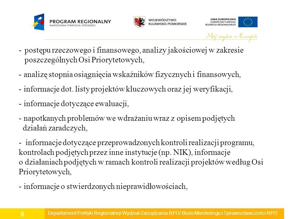 Departament Polityki Regionalnej/ Wydział Zarządzania RPO/ Biuro Monitoringu i Sprawozdawczości RPO 8 -postępu rzeczowego i finansowego, analizy jakoś