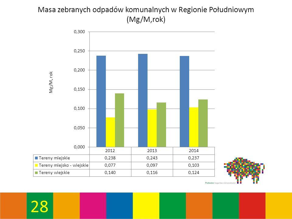 28 Masa zebranych odpadów komunalnych w Regionie Południowym (Mg/M,rok)