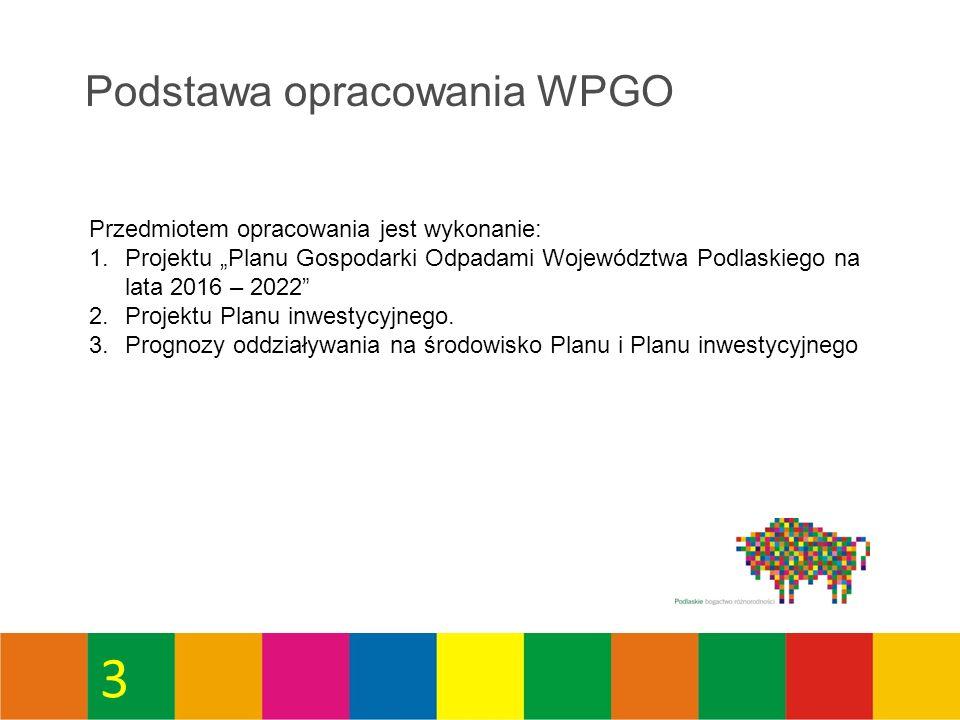 """Podstawa opracowania WPGO Przedmiotem opracowania jest wykonanie: 1.Projektu """"Planu Gospodarki Odpadami Województwa Podlaskiego na lata 2016 – 2022 2.Projektu Planu inwestycyjnego."""