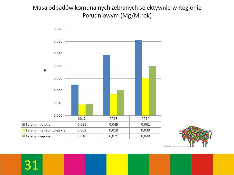 31 Masa odpadów komunalnych zebranych selektywnie w Regionie Południowym (Mg/M,rok)
