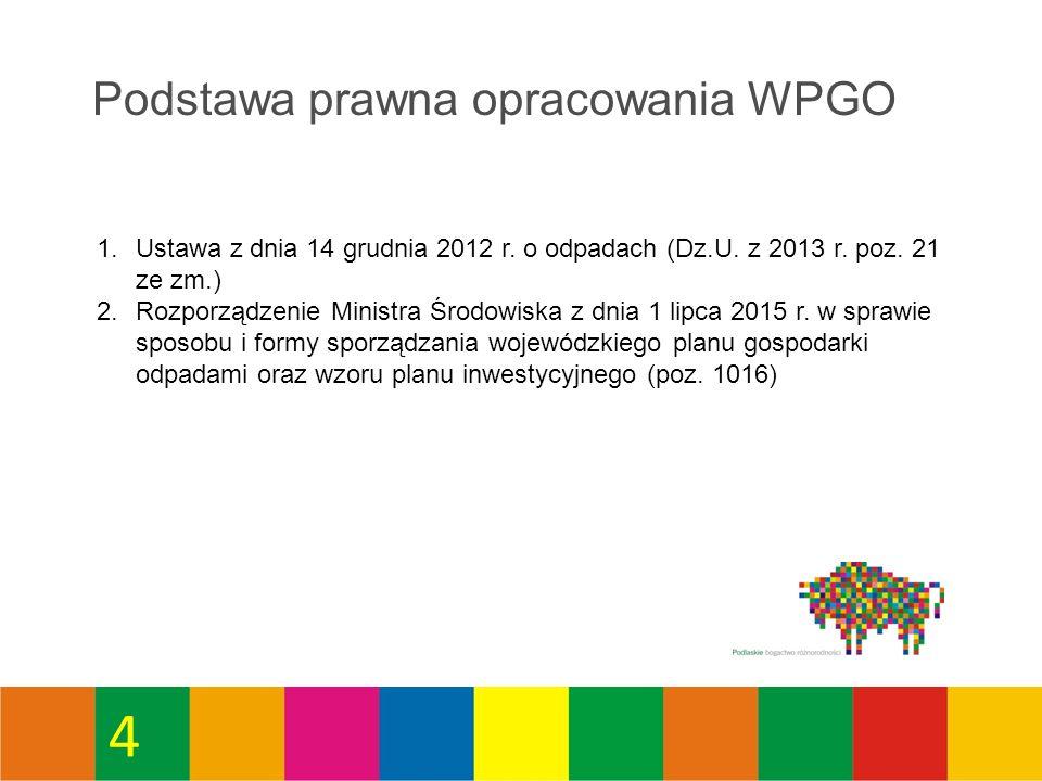 Metodyka opracowania WPGO Przy opracowaniu WPGO wykorzystane zostaną następujące źródła informacji: 1.Wojewódzki System Odpadowy - baza danych o odpadach prowadzona w Urzędzie Marszałkowskim w Białymstoku (WSO).