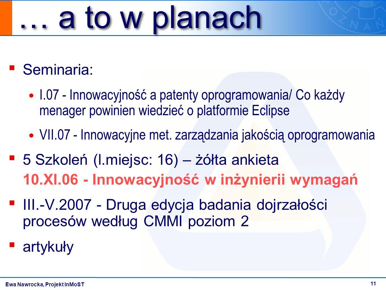 Ewa Nawrocka, Projekt InMoST 11 … a to w planach ▪ Seminaria: I.07 - Innowacyjność a patenty oprogramowania/ Co każdy menager powinien wiedzieć o plat