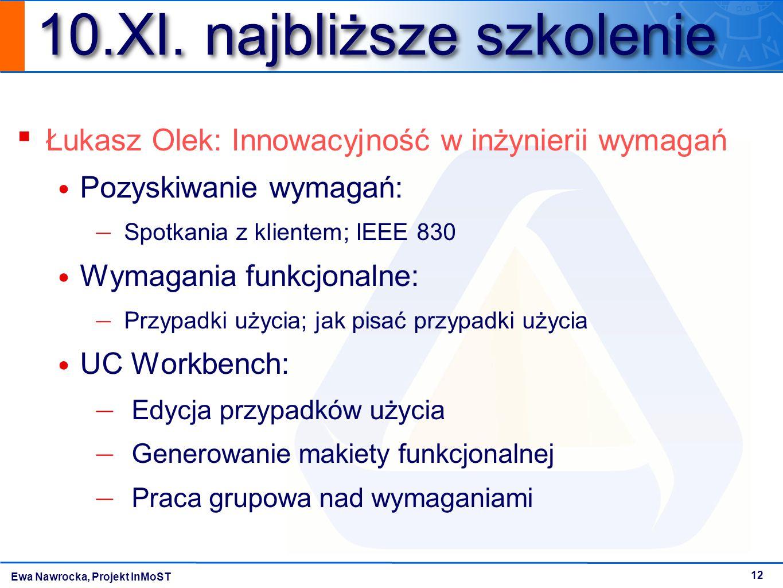 Ewa Nawrocka, Projekt InMoST 12 10.XI. najbliższe szkolenie ▪ Łukasz Olek: Innowacyjność w inżynierii wymagań Pozyskiwanie wymagań: — Spotkania z klie