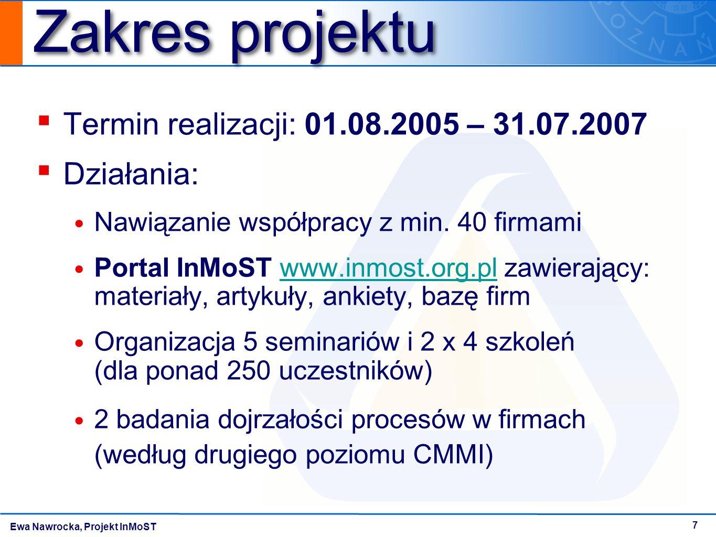 Ewa Nawrocka, Projekt InMoST 7 Zakres projektu ▪ Termin realizacji: 01.08.2005 – 31.07.2007 ▪ Działania: Nawiązanie współpracy z min. 40 firmami Porta