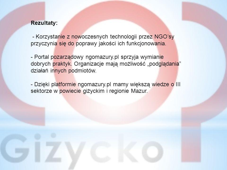 Rezultaty: - Korzystanie z nowoczesnych technologii przez NGO'sy przyczynia się do poprawy jakości ich funkcjonowania.