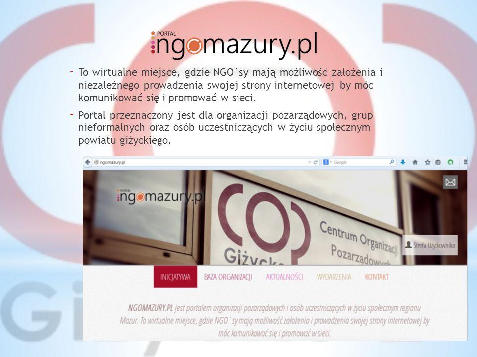 CO OFERUJE 1) możliwość stworzenia strony internetowej oraz jej niezależną administrację 2) promocję i informowanie o realizowanych projektach, wydarzeniach, przedsięwzięciach 3) dostęp do bazy organizacji pozarządowych regionu Mazur