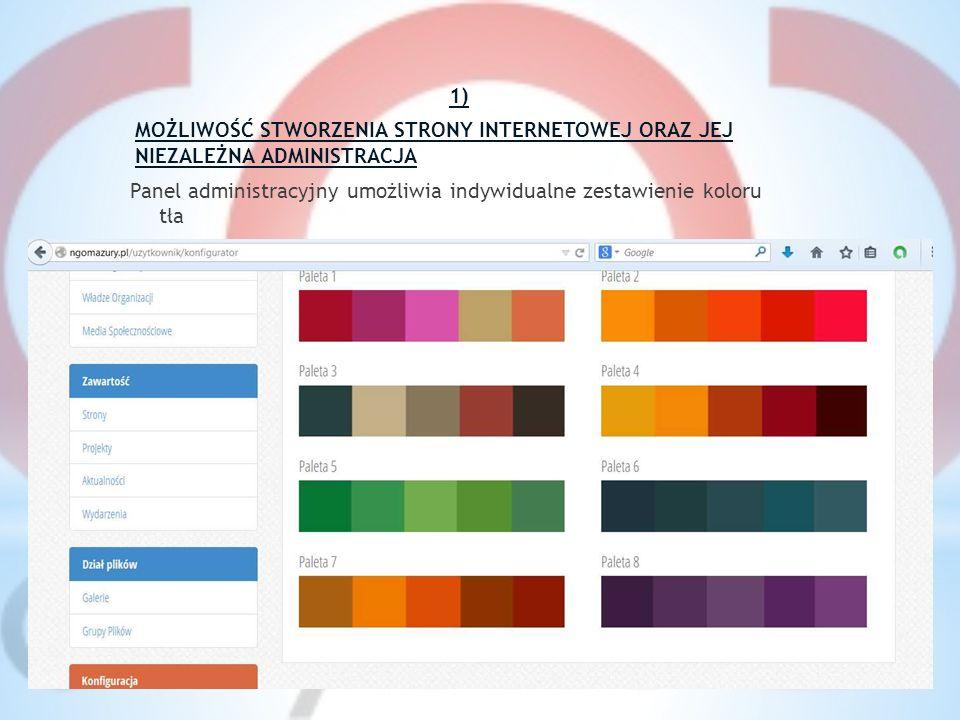 1) MOŻLIWOŚĆ STWORZENIA STRONY INTERNETOWEJ ORAZ JEJ NIEZALEŻNA ADMINISTRACJA Panel administracyjny umożliwia indywidualne zestawienie koloru tła