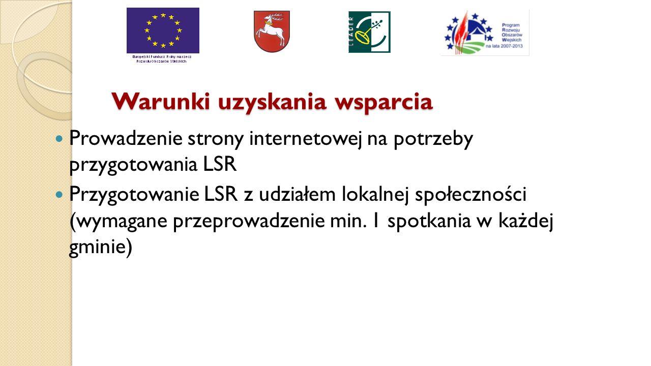 Warunki uzyskania wsparcia Prowadzenie strony internetowej na potrzeby przygotowania LSR Przygotowanie LSR z udziałem lokalnej społeczności (wymagane przeprowadzenie min.