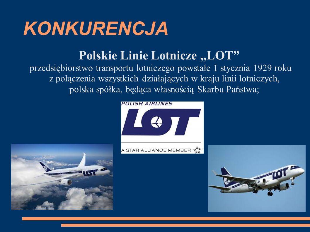 """KONKURENCJA Polskie Linie Lotnicze """"LOT przedsiębiorstwo transportu lotniczego powstałe 1 stycznia 1929 roku z połączenia wszystkich działających w kraju linii lotniczych, polska spółka, będąca własnością Skarbu Państwa;"""