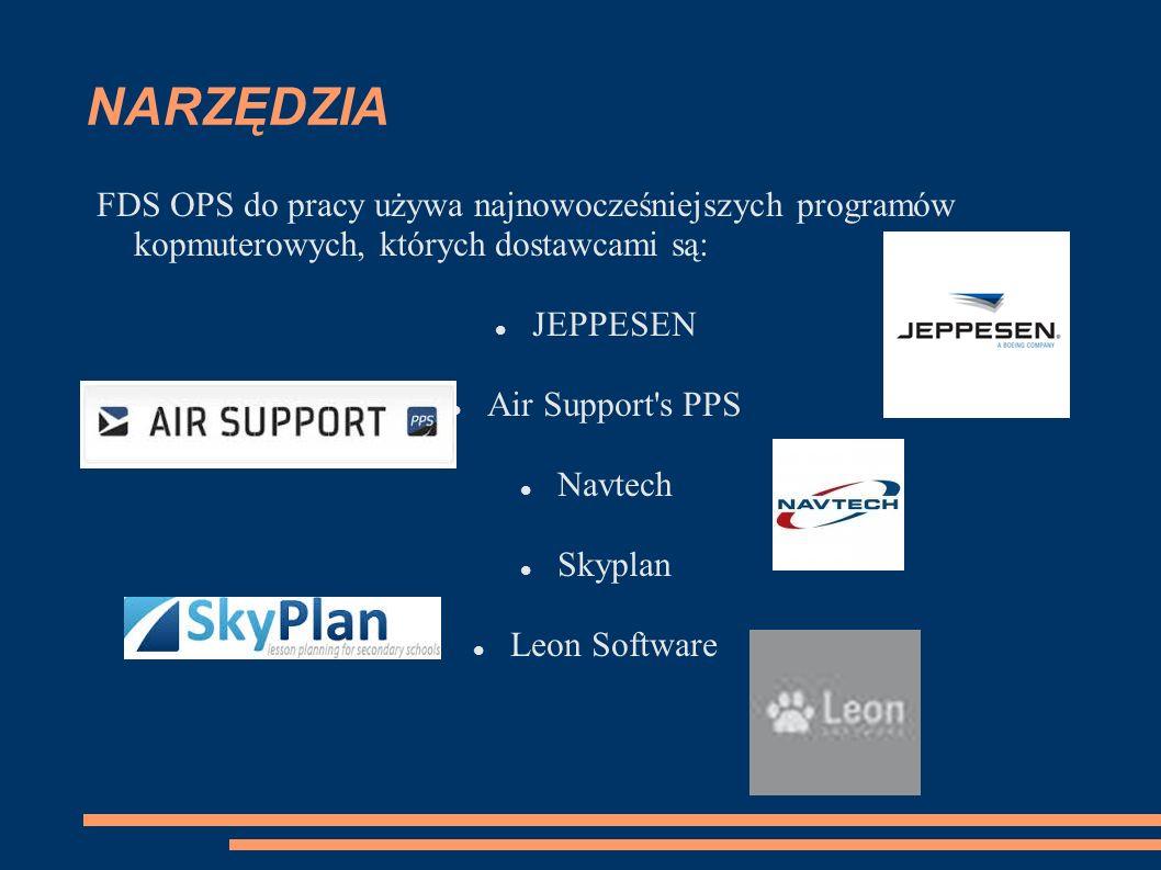 NARZĘDZIA FDS OPS do pracy używa najnowocześniejszych programów kopmuterowych, których dostawcami są: JEPPESEN Air Support s PPS Navtech Skyplan Leon Software