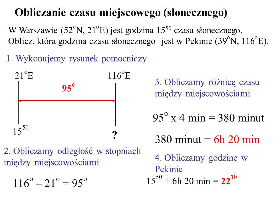 Obliczanie czasu miejscowego (słonecznego) W Warszawie (52 o N, 21 o E) jest godzina 15 50 czasu słonecznego. Oblicz, która godzina czasu słonecznego