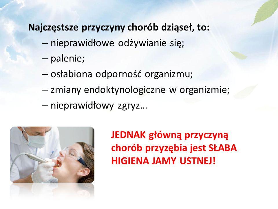 Najczęstsze przyczyny chorób dziąseł, to: – nieprawidłowe odżywianie się; – palenie; – osłabiona odporność organizmu; – zmiany endoktynologiczne w organizmie; – nieprawidłowy zgryz… JEDNAK główną przyczyną chorób przyzębia jest SŁABA HIGIENA JAMY USTNEJ!