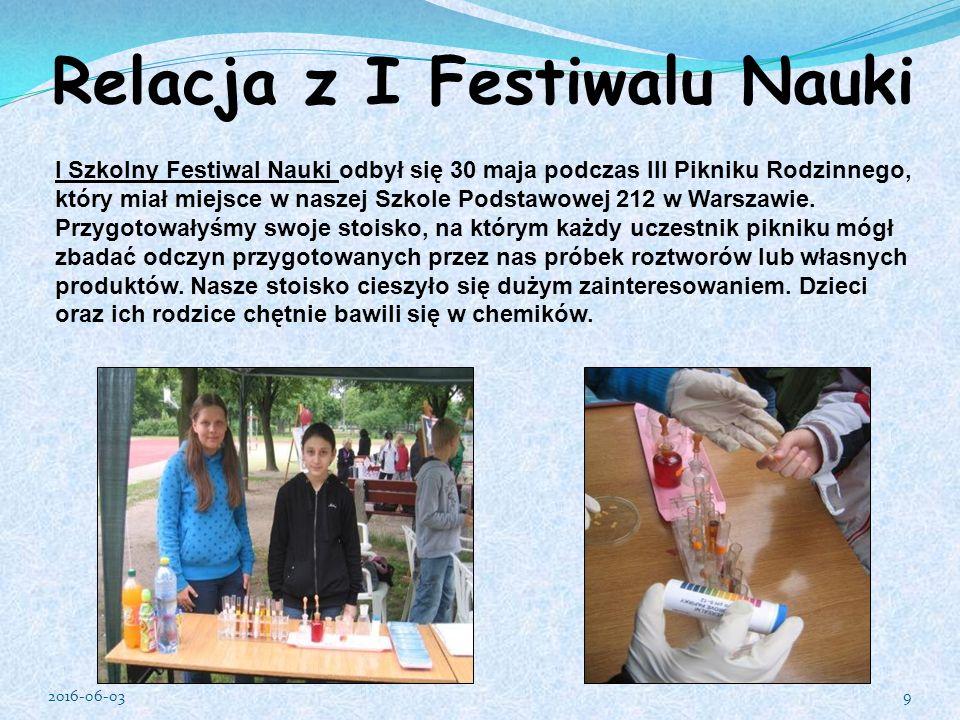 I Szkolny Festiwal Nauki odbył się 30 maja podczas III Pikniku Rodzinnego, który miał miejsce w naszej Szkole Podstawowej 212 w Warszawie.