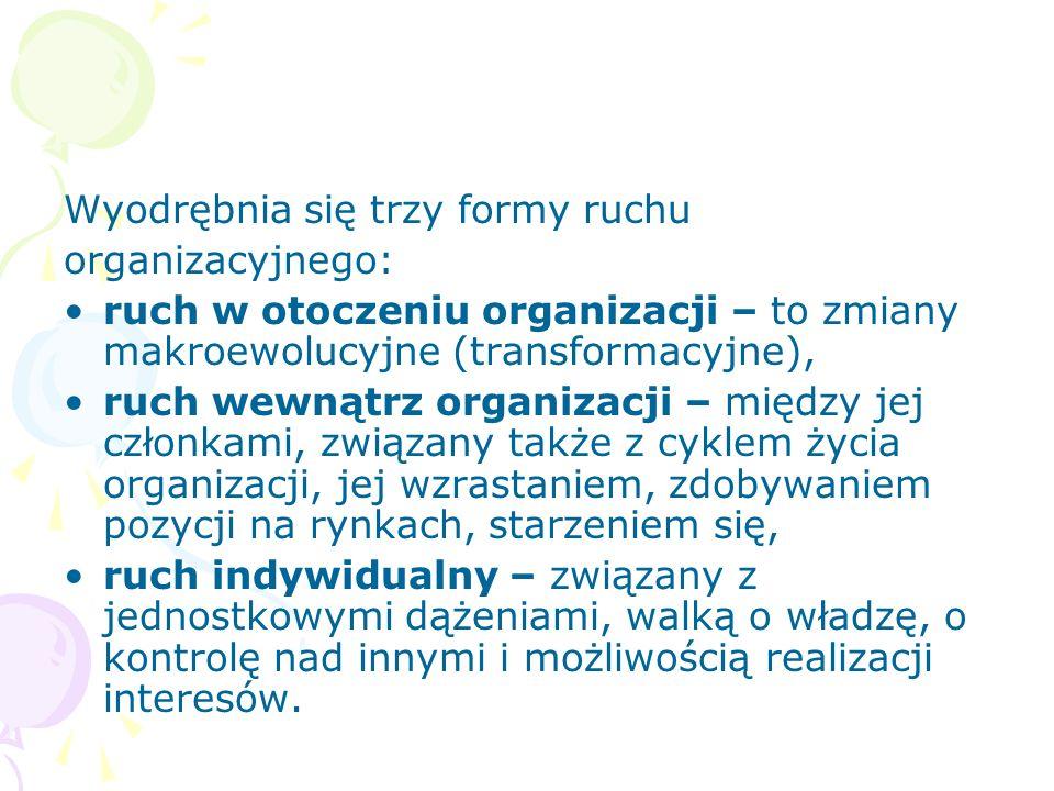Wyodrębnia się trzy formy ruchu organizacyjnego: ruch w otoczeniu organizacji – to zmiany makroewolucyjne (transformacyjne), ruch wewnątrz organizacji – między jej członkami, związany także z cyklem życia organizacji, jej wzrastaniem, zdobywaniem pozycji na rynkach, starzeniem się, ruch indywidualny – związany z jednostkowymi dążeniami, walką o władzę, o kontrolę nad innymi i możliwością realizacji interesów.