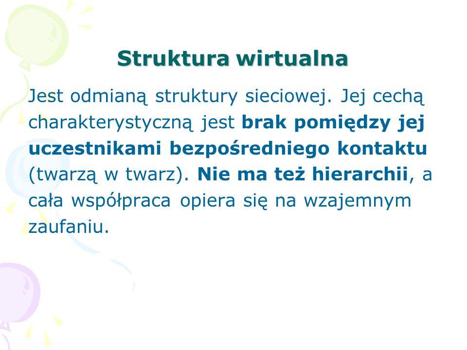 Struktura wirtualna Jest odmianą struktury sieciowej.
