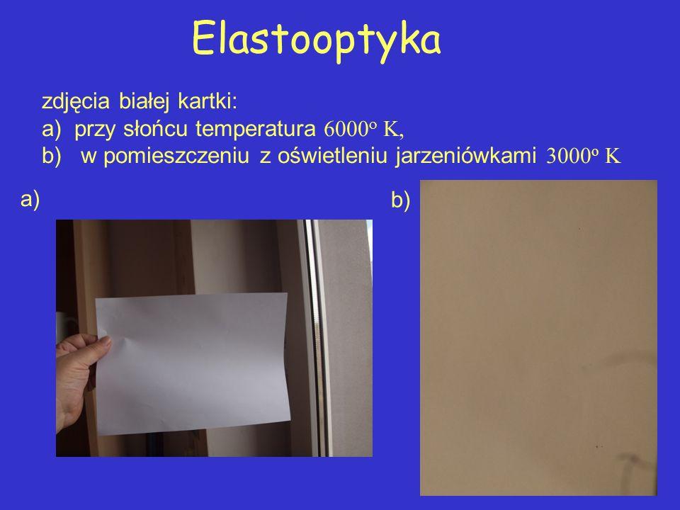 Elastooptyka zdjęcia białej kartki: a) przy słońcu temperatura    b) w pomieszczeniu z oświetleniu jarzeniówkami 3000 o K a) b)