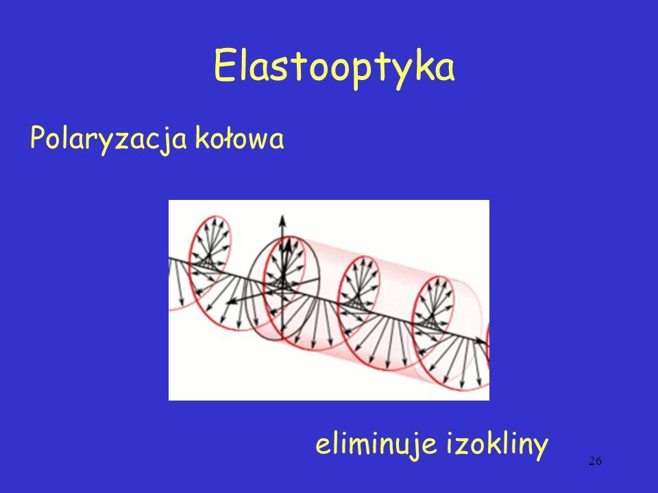 26 Polaryzacja kołowa Elastooptyka eliminuje izokliny