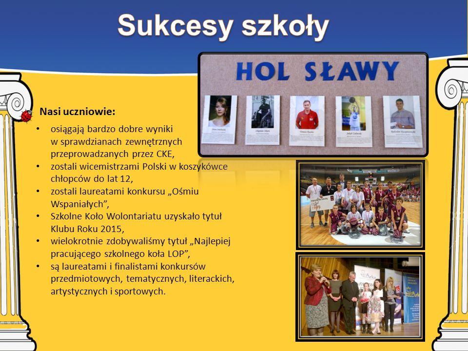"""osiągają bardzo dobre wyniki w sprawdzianach zewnętrznych przeprowadzanych przez CKE, zostali wicemistrzami Polski w koszykówce chłopców do lat 12, zostali laureatami konkursu """"Ośmiu Wspaniałych , Szkolne Koło Wolontariatu uzyskało tytuł Klubu Roku 2015, wielokrotnie zdobywaliśmy tytuł """"Najlepiej pracującego szkolnego koła LOP , są laureatami i finalistami konkursów przedmiotowych, tematycznych, literackich, artystycznych i sportowych."""