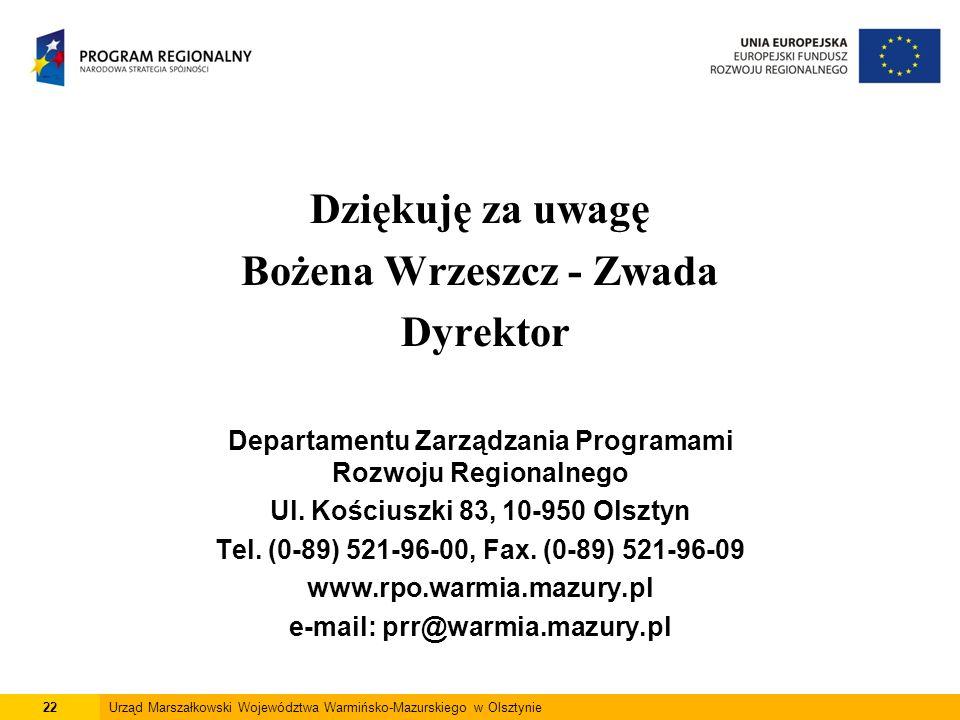 Dziękuję za uwagę Bożena Wrzeszcz - Zwada Dyrektor Departamentu Zarządzania Programami Rozwoju Regionalnego Ul. Kościuszki 83, 10-950 Olsztyn Tel. (0-