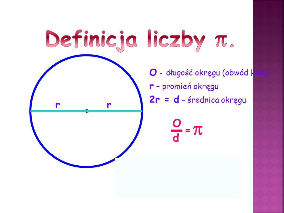 O – długość okręgu (obwód koła) r r – promień okręgu r 2r = d – średnica okręgu O d = = 