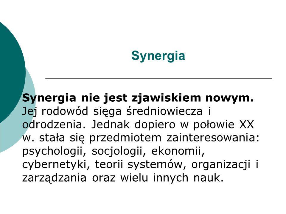 Synergia Synergia nie jest zjawiskiem nowym. Jej rodowód sięga średniowiecza i odrodzenia. Jednak dopiero w połowie XX w. stała się przedmiotem zainte