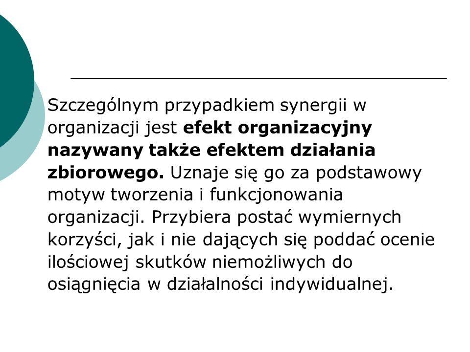 Szczególnym przypadkiem synergii w organizacji jest efekt organizacyjny nazywany także efektem działania zbiorowego.
