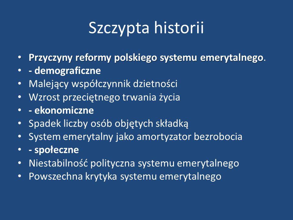 Szczypta historii Przyczyny reformy polskiego systemu emerytalnego Przyczyny reformy polskiego systemu emerytalnego.