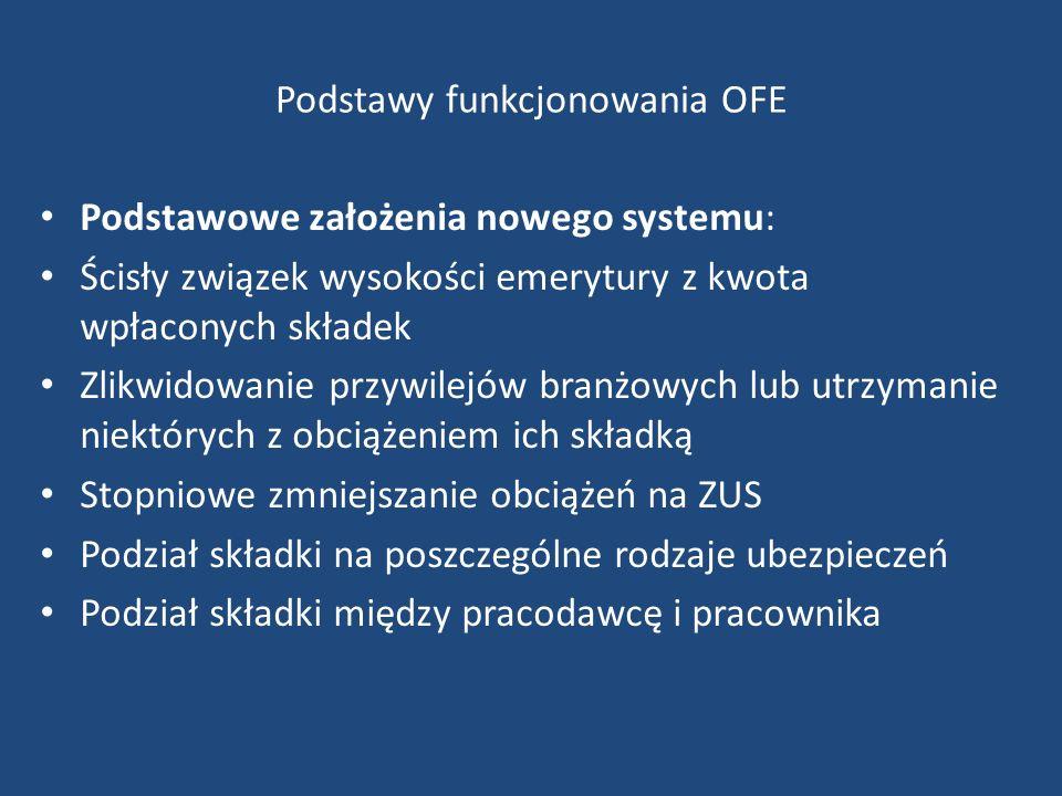 Podstawy funkcjonowania OFE Podstawowe założenia nowego systemu: Ścisły związek wysokości emerytury z kwota wpłaconych składek Zlikwidowanie przywilej