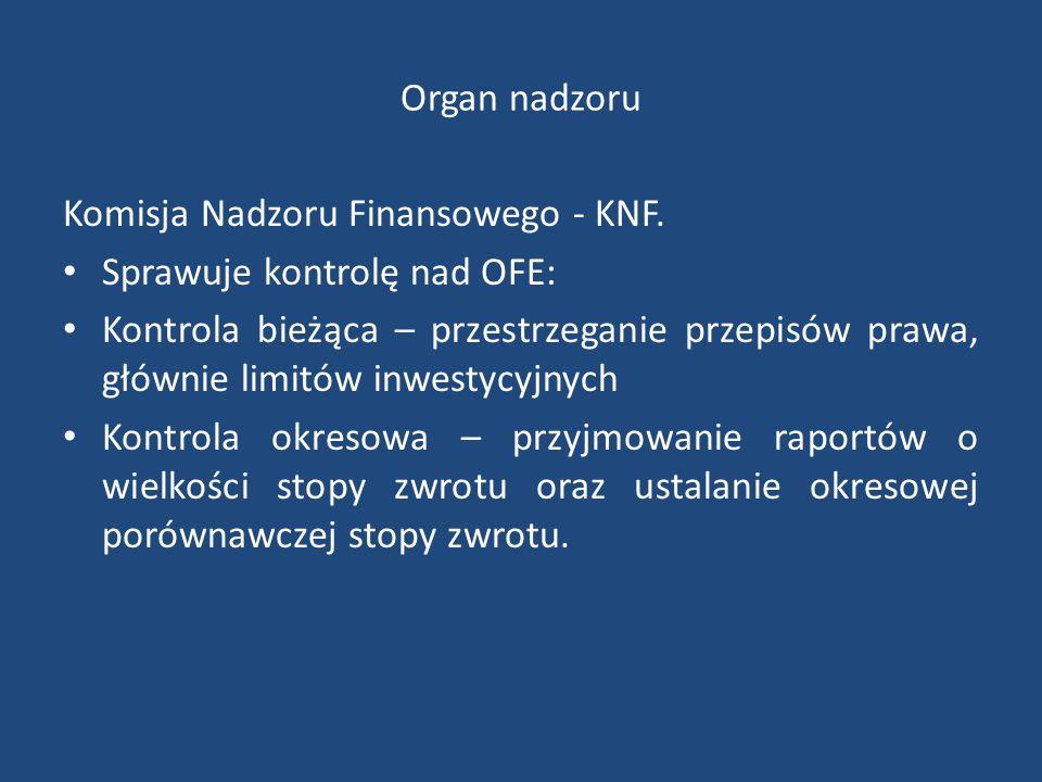 Organ nadzoru Komisja Nadzoru Finansowego - KNF.