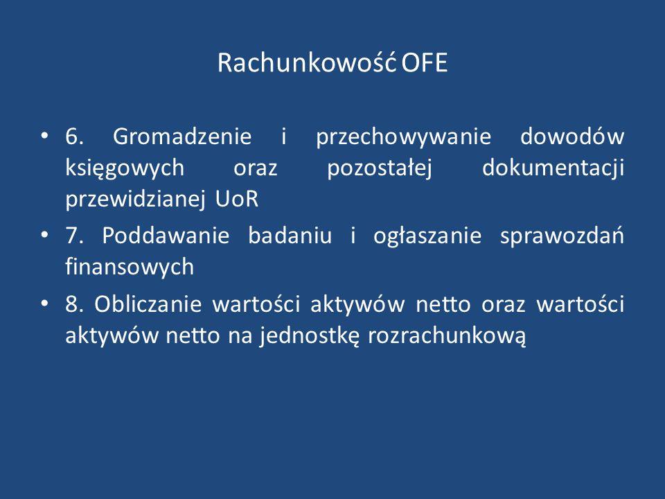 Rachunkowość OFE 6. Gromadzenie i przechowywanie dowodów księgowych oraz pozostałej dokumentacji przewidzianej UoR 7. Poddawanie badaniu i ogłaszanie