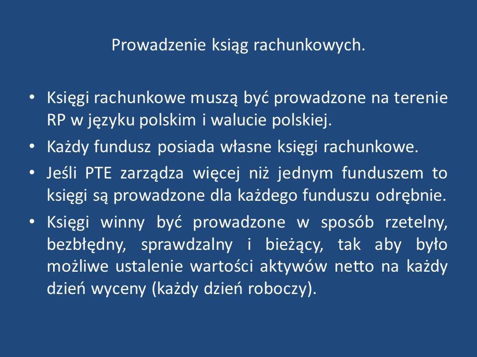 Prowadzenie ksiąg rachunkowych. Księgi rachunkowe muszą być prowadzone na terenie RP w języku polskim i walucie polskiej. Każdy fundusz posiada własne