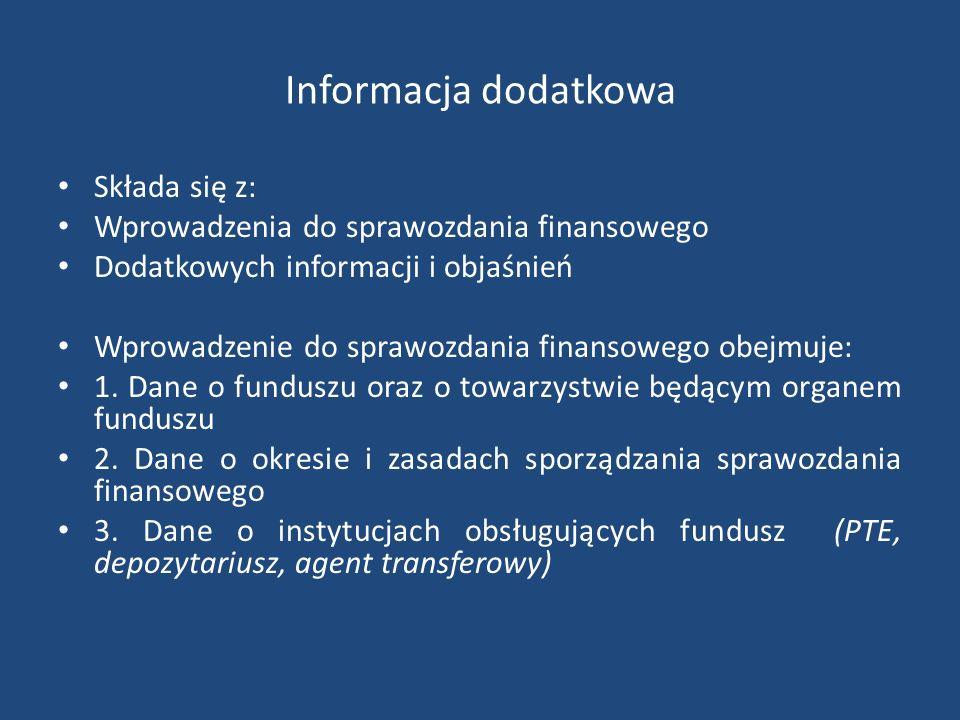Informacja dodatkowa Składa się z: Wprowadzenia do sprawozdania finansowego Dodatkowych informacji i objaśnień Wprowadzenie do sprawozdania finansoweg