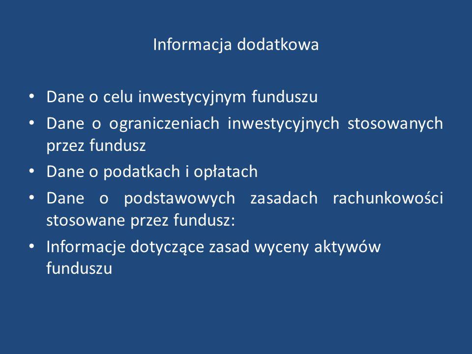 Informacja dodatkowa Dane o celu inwestycyjnym funduszu Dane o ograniczeniach inwestycyjnych stosowanych przez fundusz Dane o podatkach i opłatach Dane o podstawowych zasadach rachunkowości stosowane przez fundusz: Informacje dotyczące zasad wyceny aktywów funduszu