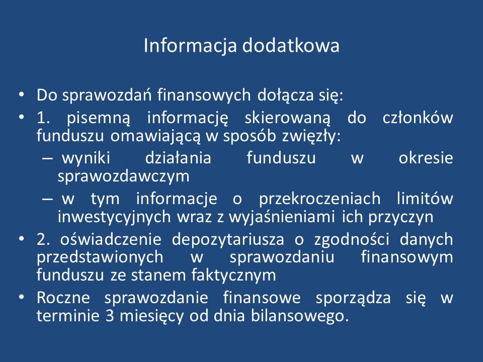Informacja dodatkowa Do sprawozdań finansowych dołącza się: 1.