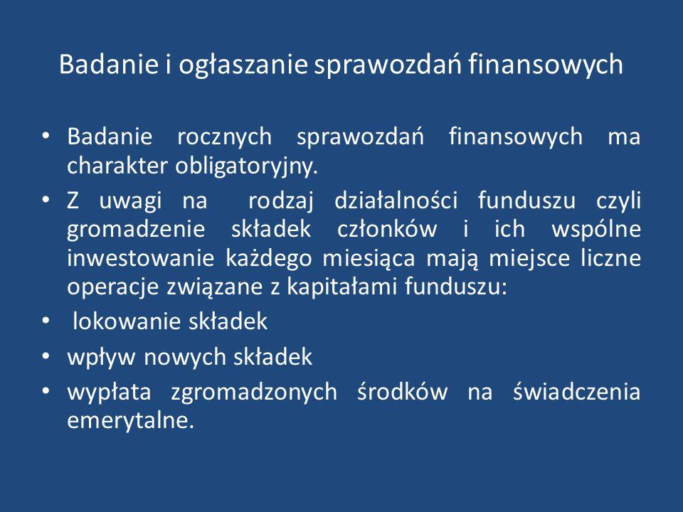 Badanie i ogłaszanie sprawozdań finansowych Badanie rocznych sprawozdań finansowych ma charakter obligatoryjny. Z uwagi na rodzaj działalności fundusz