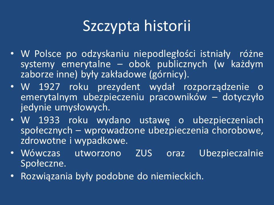 Szczypta historii W Polsce po odzyskaniu niepodległości istniały różne systemy emerytalne – obok publicznych (w każdym zaborze inne) były zakładowe (górnicy).