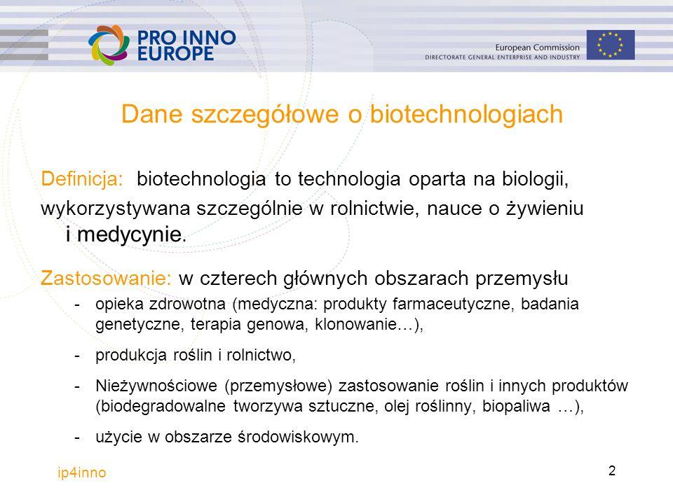 Dane szczegółowe o biotechnologiach Definicja: biotechnologia to technologia oparta na biologii, wykorzystywana szczególnie w rolnictwie, nauce o żywieniu i medycynie.