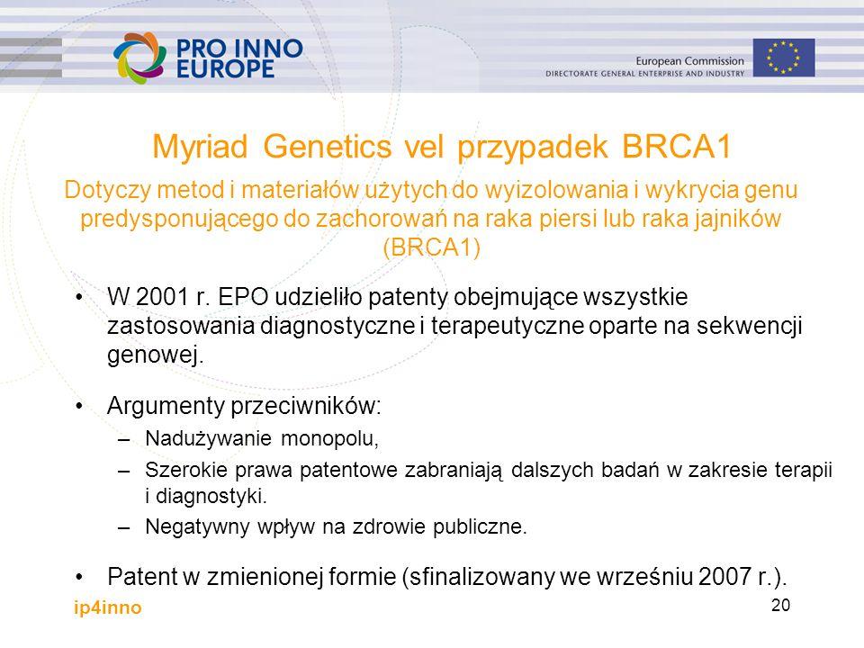 ip4inno 20 Myriad Genetics vel przypadek BRCA1 W 2001 r.