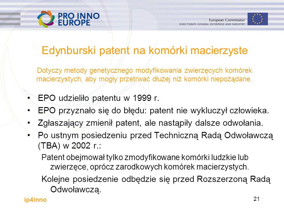 ip4inno 21 Edynburski patent na komórki macierzyste EPO udzieliło patentu w 1999 r.