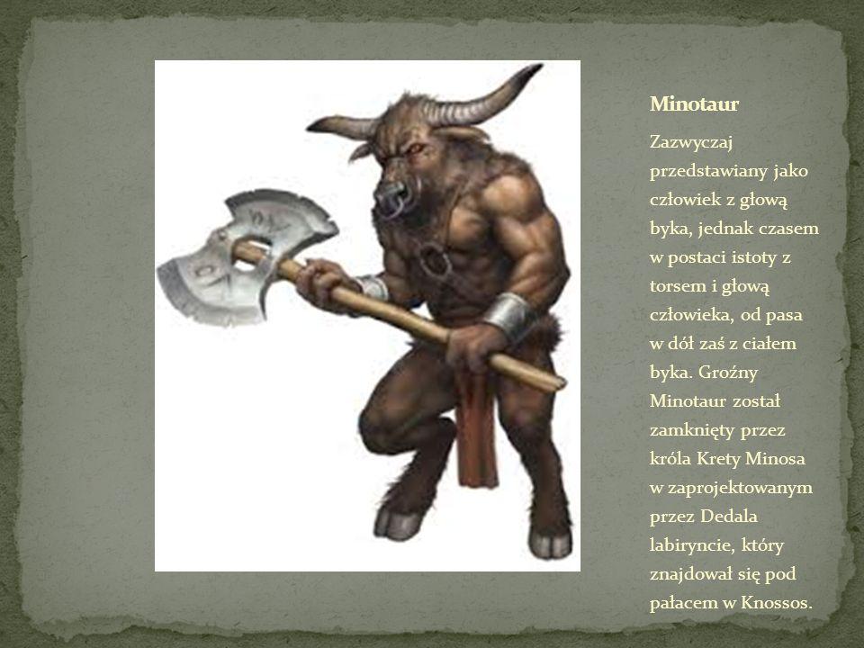 Zazwyczaj przedstawiany jako człowiek z głową byka, jednak czasem w postaci istoty z torsem i głową człowieka, od pasa w dół zaś z ciałem byka.