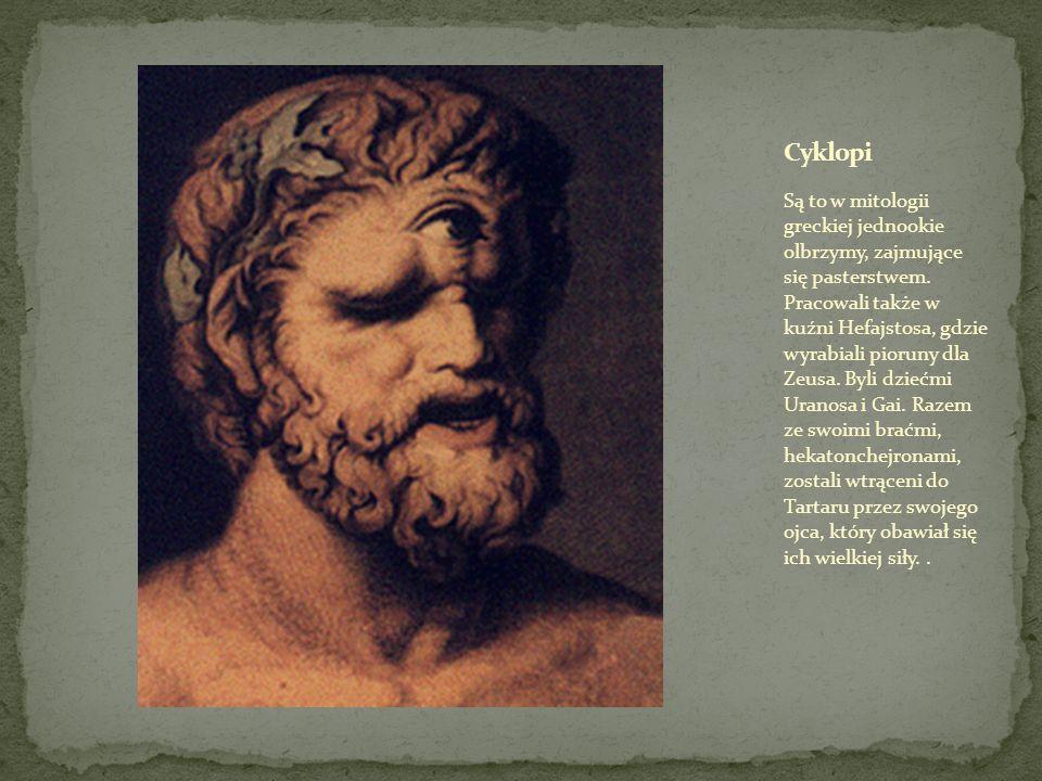 Są to w mitologii greckiej jednookie olbrzymy, zajmujące się pasterstwem.