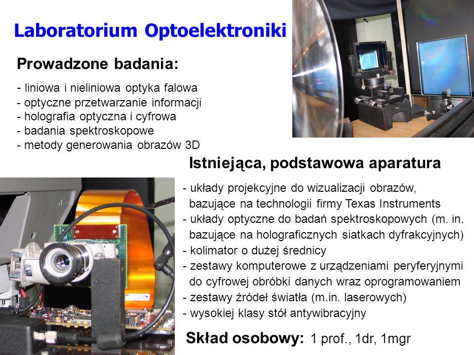 Prowadzone badania: - liniowa i nieliniowa optyka falowa - optyczne przetwarzanie informacji - holografia optyczna i cyfrowa - badania spektroskopowe - metody generowania obrazów 3D Istniejąca, podstawowa aparatura - układy projekcyjne do wizualizacji obrazów, bazujące na technologii firmy Texas Instruments - układy optyczne do badań spektroskopowych (m.