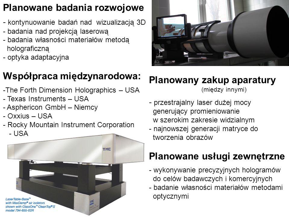 Planowane badania rozwojowe - kontynuowanie badań nad wizualizacją 3D - badania nad projekcją laserową - badania własności materiałów metodą holograficzną - optyka adaptacyjna Współpraca międzynarodowa: -The Forth Dimension Holographics – USA - Texas Instruments – USA - Asphericon GmbH – Niemcy - Oxxius – USA - Rocky Mountain Instrument Corporation - USA Planowany zakup aparatury (między innymi) - przestrajalny laser dużej mocy generujący promieniowanie w szerokim zakresie widzialnym - najnowszej generacji matryce do tworzenia obrazów Planowane usługi zewnętrzne - wykonywanie precyzyjnych hologramów do celów badawczych i komercyjnych - badanie własności materiałów metodami optycznymi