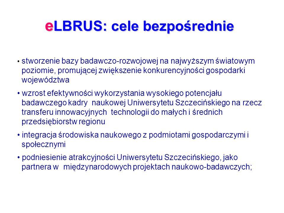e LBRUS: cele bezpośrednie stworzenie bazy badawczo-rozwojowej na najwyższym światowym poziomie, promującej zwiększenie konkurencyjności gospodarki województwa wzrost efektywności wykorzystania wysokiego potencjału badawczego kadry naukowej Uniwersytetu Szczecińskiego na rzecz transferu innowacyjnych technologii do małych i średnich przedsiębiorstw regionu integracja środowiska naukowego z podmiotami gospodarczymi i społecznymi podniesienie atrakcyjności Uniwersytetu Szczecińskiego, jako partnera w międzynarodowych projektach naukowo-badawczych;