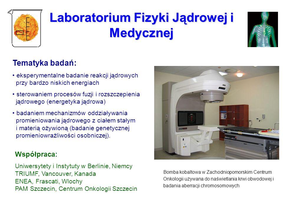 Laboratorium Fizyki Jądrowej i Medycznej Tematyka badań: eksperymentalne badanie reakcji jądrowych przy bardzo niskich energiach sterowaniem procesów