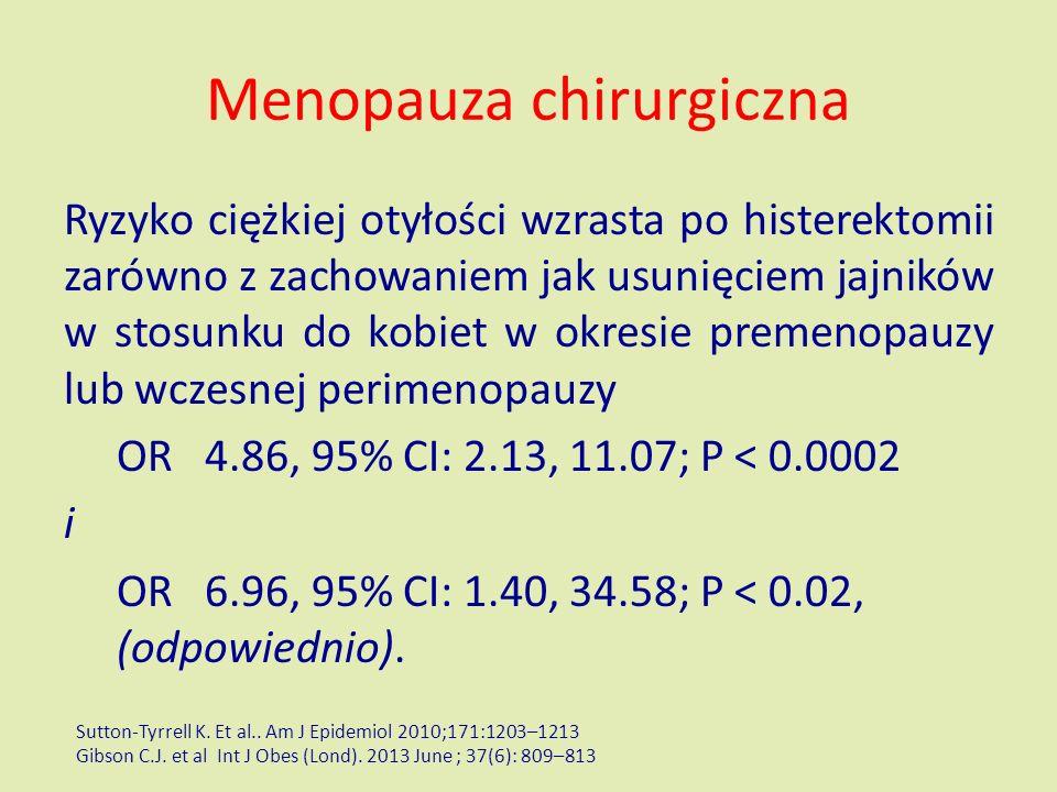 Menopauza chirurgiczna Ryzyko ciężkiej otyłości wzrasta po histerektomii zarówno z zachowaniem jak usunięciem jajników w stosunku do kobiet w okresie premenopauzy lub wczesnej perimenopauzy OR 4.86, 95% CI: 2.13, 11.07; P < 0.0002 i OR 6.96, 95% CI: 1.40, 34.58; P < 0.02, (odpowiednio).