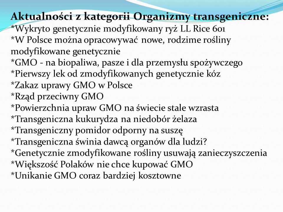Aktualności z kategorii Organizmy transgeniczne: *Wykryto genetycznie modyfikowany ryż LL Rice 601 *W Polsce można opracowywać nowe, rodzime rośliny m