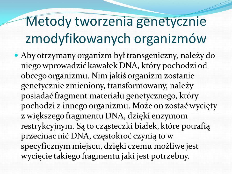 Metody tworzenia genetycznie zmodyfikowanych organizmów Aby otrzymany organizm był transgeniczny, należy do niego wprowadzić kawałek DNA, który pochod