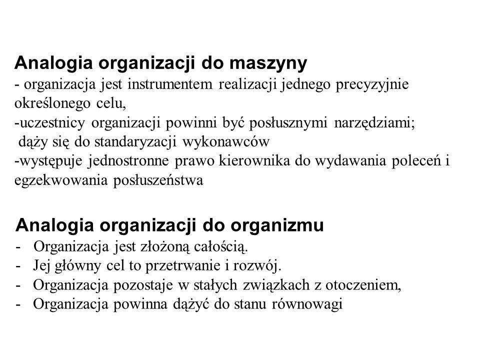 Analogia organizacji do organizmu -Organizacja jest złożoną całością.
